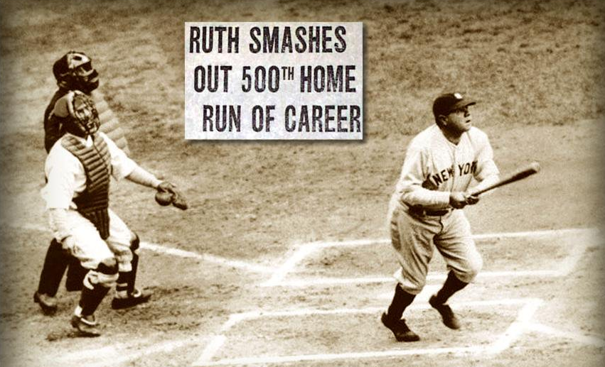 Image result for baseballs babe ruth  his 500th home run