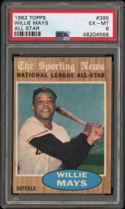 1962 topps willie mays all-star card