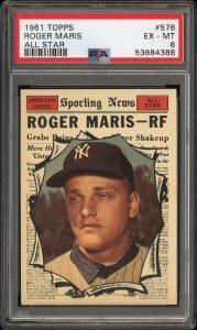 1961 topps roger maris all-star card